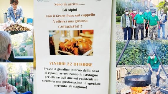 ALLA CASA DI RIPOSO DI ARONA CASTAGNATA CON GLI ALPINI
